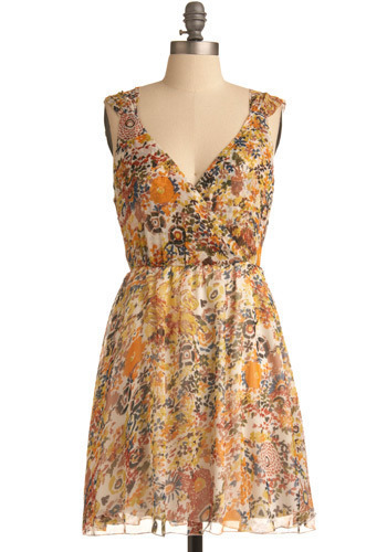 Sunset in Sonoma Dress - Multi, Red, Orange, Yellow, Green, Blue, Pink, Brown, Tan / Cream, Floral, Casual, A-line, Sleeveless, Tank top (2 thick straps), Spring, Summer, Mid-length