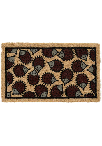 Hedge Sweet Hog Doormat - Tan, Brown, Black, Print with Animals, Casual, Dorm Decor
