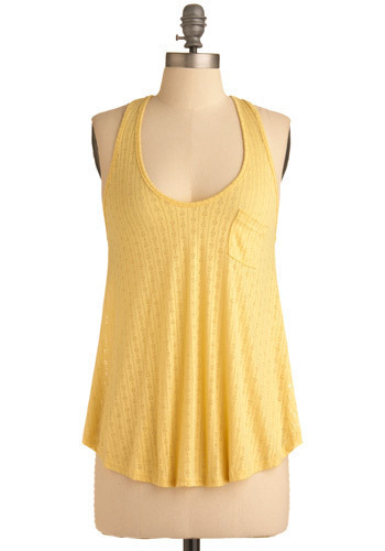 A La Limon Top - Yellow, Floral, Casual, Tank top (2 thick straps), Spring, Summer, Mid-length