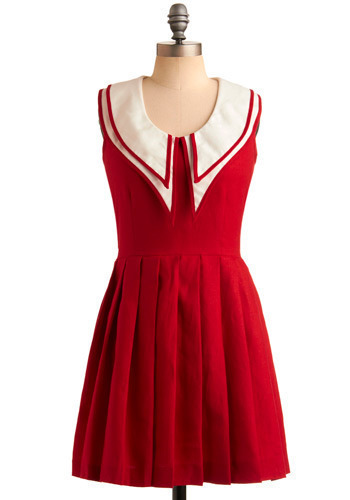 Rachel Antonoff Crimson and Collars Dress by Rachel Antonoff - Red, White, Pleats, Trim, Casual, Nautical, A-line, Sleeveless, Spring, Summer, Vintage Inspired, 40s, Short