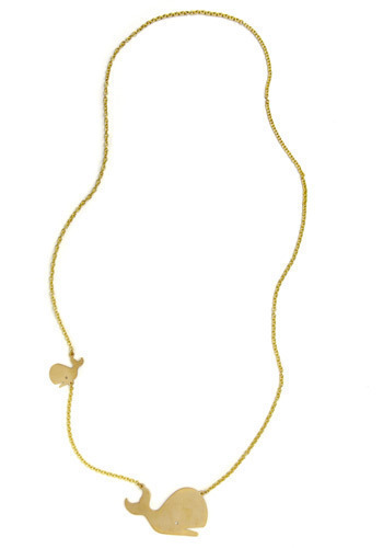 Tale of Two Whales Necklace by Monserat De Lucca - Gold, Chain, Party, Work, Casual, Nautical