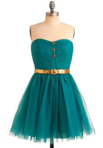 Betsey Johnson Sweet Confection Dress by Betsey Johnson - Green, Gold, Solid, Buttons, Sequins, Special Occasion, Prom, Wedding, Party, Luxe, Ballerina / Tutu, Empire, Strapless, Mid-length