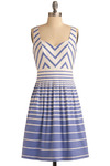 Long Island Longing Dress by Max and Cleo - Blue, White, Stripes, Pleats, Party, Casual, A-line, Empire, Sleeveless, Tank top (2 thick straps), Spring, Summer, Nautical, Mid-length