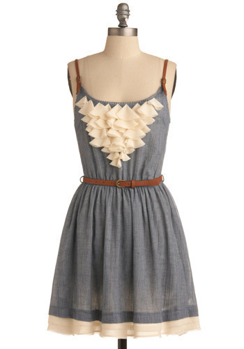 Ranch House Darling Dress - Blue, Tan / Cream, Ruffles, Casual, A-line, Spaghetti Straps, Mid-length
