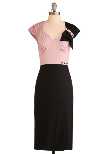 Sample 756 - Pink, Black, Buttons, Pleats, Party, Casual, Sheath / Shift, Cap Sleeves