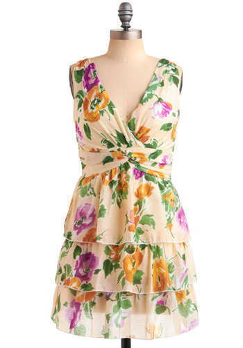 Ready for Ranunculus Dress - Multi, Orange, Yellow, Green, Purple, Pink, Tan / Cream, Floral, Tiered, Formal, Party, Empire, Sleeveless, Spring, Summer, Short