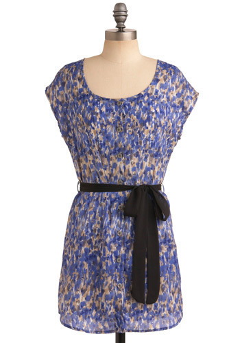 Brush with Greatness Dress - Blue, Brown, Tan / Cream, Grey, Bows, Casual, Sheath / Shift, Cap Sleeves, Spring, Summer, Short