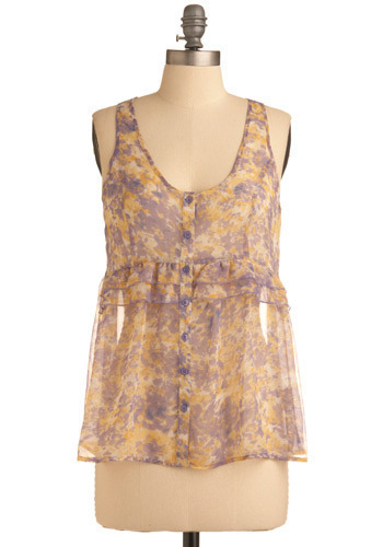 Pretty at the Pier Tank by Jack by BB Dakota - Cream, Orange, Purple, Print, Buttons, Ruffles, Casual, Tank top (2 thick straps), Spring, Summer, Mid-length