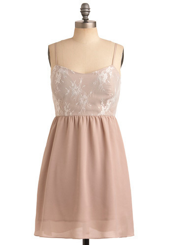 Taupes and Dreams Dress - Pink, Lace, Wedding, Party, Casual, A-line, Spaghetti Straps, Mid-length