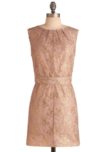 Embellished Beauty Dress - Pink, Gold, Floral, Bows, Lace, Pleats, Formal, Wedding, Party, Luxe, Sheath / Shift, Sleeveless, Spring, Summer, Fall, Mid-length