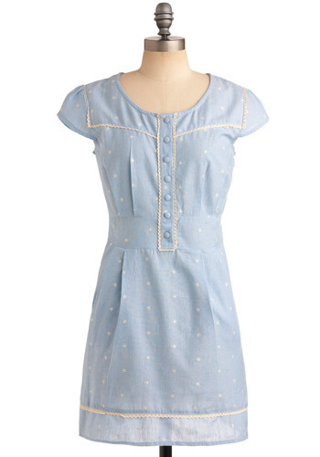 To the Lighthouse Dress - Blue, White, Polka Dots, Buttons, Embroidery, Lace, Pleats, Pockets, Casual, Empire, Cap Sleeves, Spring, Summer, Mid-length