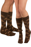 Pedal Pusher Socks - Brown, Tan / Cream, Novelty Print, Casual, Knitted