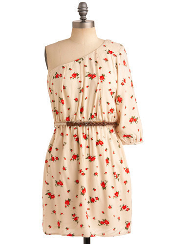 Coral Gardens Dress - Cream, Red, Green, Floral, Casual, Sheath / Shift, One Shoulder, Spring, Summer, Short