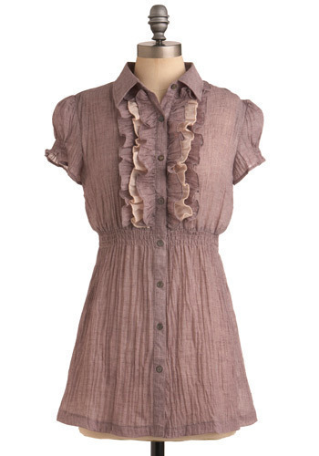Macaron Making Tunic - Purple, Pink, Solid, Ruffles, Casual, Short Sleeves, Long