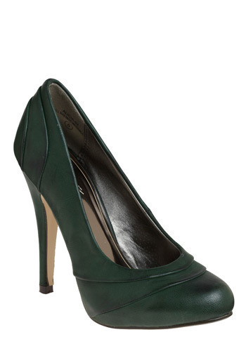 Evergreen Essential Heel - Green, Solid, Formal, Prom, Wedding, Party, Work, Casual, Urban