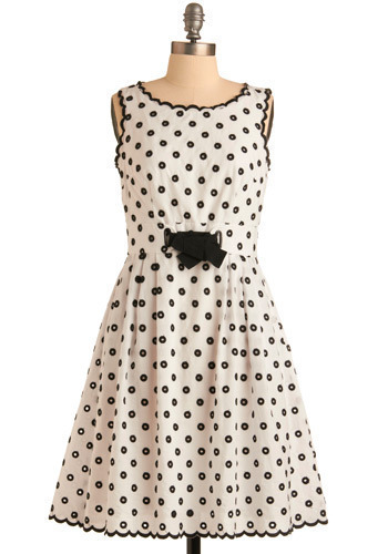 101 Ovations Dress - White, Black, Polka Dots, Bows, Exposed zipper, Pleats, Scallops, Trim, Casual, Vintage Inspired, A-line, Sleeveless, Mid-length