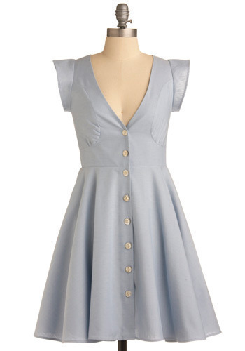 Crystalline Sky Dress - Blue, Solid, Buttons, Pleats, Casual, A-line, Cap Sleeves, Spring, Summer, Mid-length