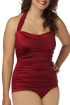 Bathing Beauty One Piece in Wine - Plus-Size by Esther Williams - Red, Solid, Casual, Vintage Inspired, Halter, Spring, Summer, Pinup, Top Rated