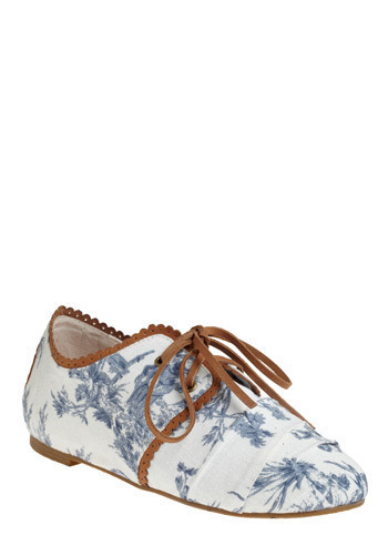 Chasing Down Dreams Flat by 80%20 - Blue, White, Brown, Floral, Print with Animals, Novelty Print, Scallops, Trim, Casual, Spring, Summer, Fall