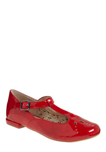 Candy Apple Gloss Flat - Red, Solid, Buckles, Cutout, Party, Work, Casual, Vintage Inspired, Spring, Summer, Fall, Better, T-Strap