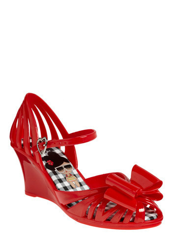 Believe in Miracles Wedge in Watermelon - Red, Bows, Buckles, Cutout, Party, Casual, Spring, Summer, Wedge