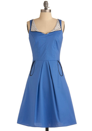 Foreign Cinema Star Dress - Blue, Black, White, Solid, Polka Dots, Bows, Pleats, Trim, Casual, Vintage Inspired, A-line, Tank top (2 thick straps), Pinup, Long