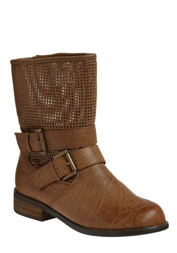 City Cowgirl Boot - Brown, Buckles, Cutout, Eyelet, Casual, Boho, Urban, Spring, Fall, Winter