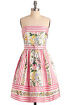 Betsey Johnson Terrace Party Dress by Betsey Johnson - Multi, Yellow, Green, Blue, Pink, White, Stripes, Floral, Special Occasion, Wedding, Party, Empire, Strapless, Spring, Summer, Mid-length