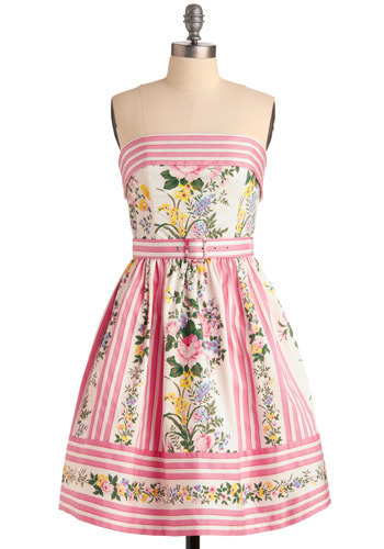 Betsey Johnson Terrace Party Dress by Betsey Johnson - Multi, Yellow, Green, Blue, Pink, White, Stripes, Floral, Formal, Wedding, Party, Empire, Strapless, Spring, Summer, Mid-length