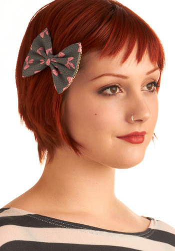 Girl Meets Bow Hair Clip - Grey, Pink, Polka Dots, Novelty Print, Bows, Party, Work, Casual