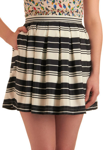 Stripe A Match Skirt in Night by Jack by BB Dakota - Black, White, Stripes, Pleats, Pockets, Casual, A-line, Mini, Spring, Summer, Short