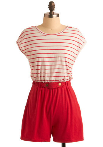 Ought or Nautical Romper by Tulle Clothing - Red, White, Stripes, Buttons, Pockets, Casual, Nautical, Short Sleeves, Spring, Summer, 80s, Long