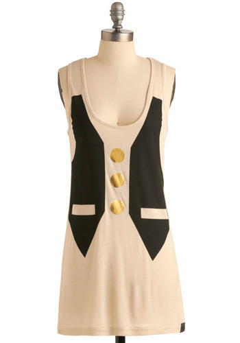 Vest in Class Tunic by Nümph - Cream, Black, Gold, Print, Casual, Menswear Inspired, Tank top (2 thick straps), Spring, Summer, Long