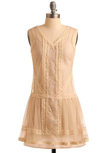 Manor Estate Dress by Jack by BB Dakota - Cream, Floral, Lace, Casual, Drop Waist, Sleeveless, Spring, Summer, Fall, Short