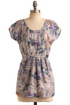 Fog and Flowers Top - Grey, Multi, Orange, Blue, Purple, White, Floral, Pleats, Casual, Short Sleeves, Long, Scoop