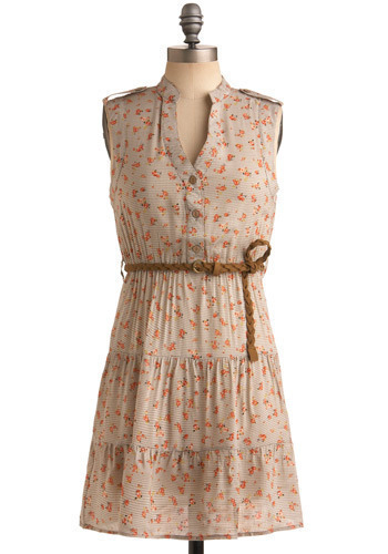 Pictures in the Park Dress - Grey, Orange, White, Checkered / Gingham, Floral, Braided, Buttons, Epaulets, Boho, Shift, Sleeveless, Spring, Summer, Short