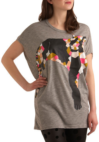 Electric Lioness Top by Nümph - Grey, Multi, Pink, Tan / Cream, Black, White, Print with Animals, Casual, Short Sleeves, Long
