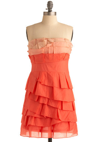 Frozen Treat Dress - Orange, Pink, Pleats, Special Occasion, Wedding, Party, Luxe, Shift, Strapless, Spring, Summer, Mid-length