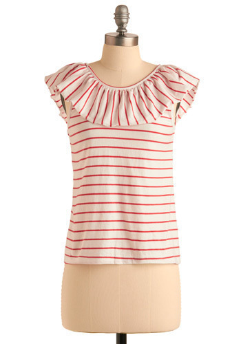 Playful Pastime Top by Tulle Clothing - White, Red, Stripes, Ruffles, Casual, Sleeveless, Tank top (2 thick straps), Spring, Summer, Short