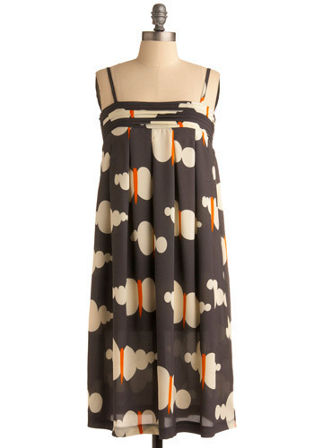 All Aflutter Dress - Grey, Orange, Tan / Cream, Print, Casual, Tent / Trapeze, Spaghetti Straps, Long