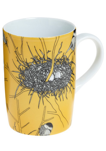 Chickadee Delight Mug - Yellow, Black, White, Novelty Print, Dorm Decor