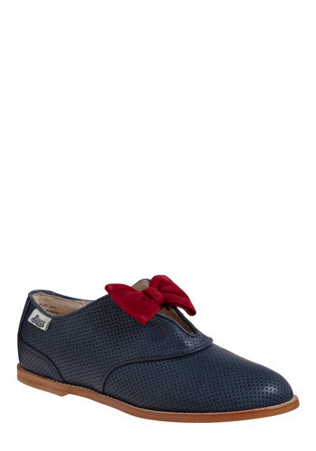 Rachel Antonoff for Bass Gamine Gait Flat by Rachel Antonoff - Blue, Red, Bows, Casual, Menswear Inspired, Nautical