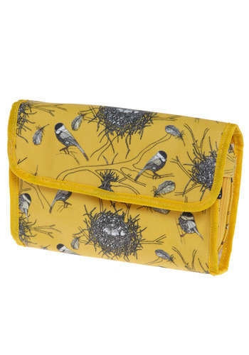 Chickadee Delight Toiletry Bag - Yellow, Black, White, Print with Animals, Casual, Travel