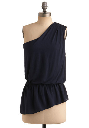 Options Abound Top - Blue, Solid, Pleats, Ruffles, Casual, One Shoulder, Spring, Summer, Long