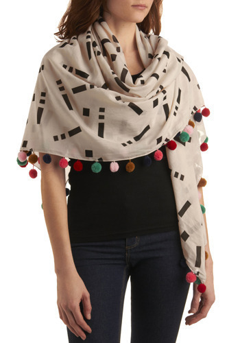 Bring it Pom Scarf - Cream, Red, Green, Blue, Pink, Tan / Cream, Black, Poms, Casual