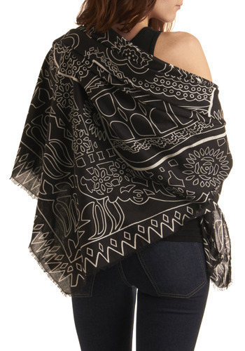 Starlit Swim Shawl - Black, White, Floral, Casual, Boho