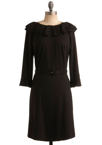 The R.A.D. Dress - Black, Solid, Ruffles, Special Occasion, Party, Work, Shift, 3/4 Sleeve, Mid-length