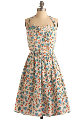 Everyday Bouquet Dress - Multi, Orange, Green, Blue, Black, Floral, Buckles, Pleats, Casual, A-line, Halter, Spring, Summer, White, Short