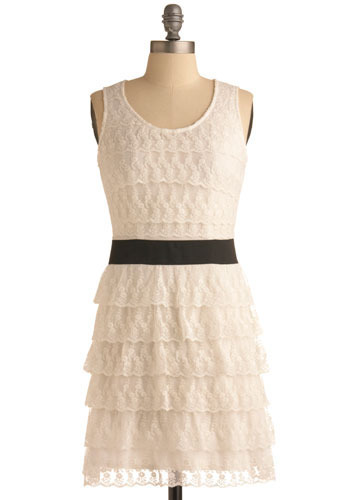 Galleria Gal Dress - White, Black, Lace, Tiered, Party, Shift, Sleeveless, Tank top (2 thick straps), Mid-length