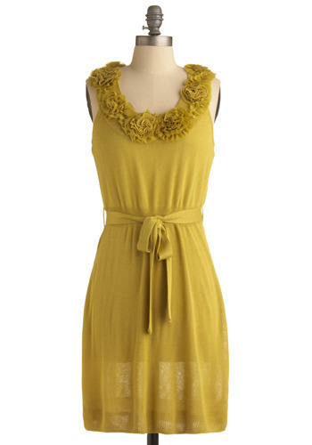 Place in the Sun Dress - Yellow, Solid, Bows, Flower, Ruffles, Party, Casual, Sheath / Shift, Sleeveless, Spring, Summer, Fall, Mid-length